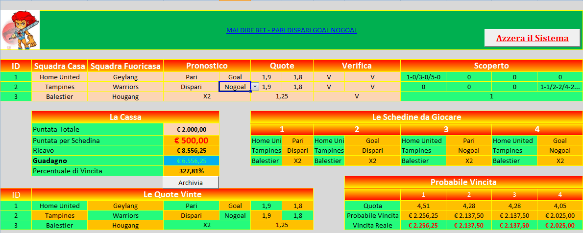 excel scommesse sportive